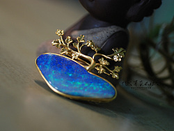 代波军艺术珠宝定制----欧泊镶嵌设计大树与帆船,你更喜欢哪个?