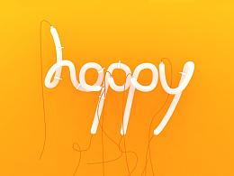 C4D制作灯管字——happy