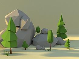 Blender lowpoly 小树林的一天
