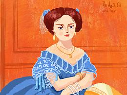 《加拉的玻林娜·埃莲诺尔》重绘,儿童插画风