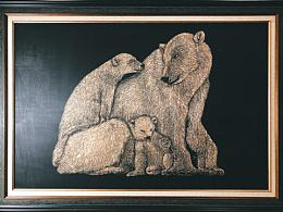 原创手工雕刻黑白木刻版画【北极熊】