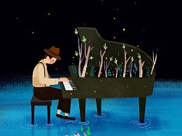 海上钢琴师 / 大鱼海棠 / 近期晚上画的插画