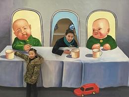 手绘特殊3D画-胖子和瘦子的互换角色