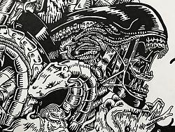 黑白插画《怪物荟萃》