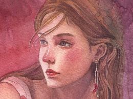 红发少女水彩步骤图