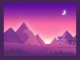 UI设计 界面设计 界面美观 暗色系 电脑界面 web 卡通画界面 紫色系 UI场景界面