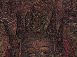 臧金龙重彩钢笔画作品《佛祖》