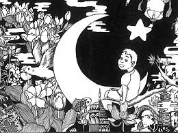 月下——手绘  黑白  创意  中西  土耳其  少年
