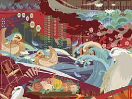 《福生五相》传统吉祥图案创意插画及相关衍生品设计