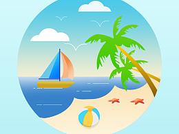 清凉沙滩小插画