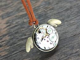 原创设计 古铜色萌萌哒小天使镶嵌 蒸汽朋克表芯皮质绳小女生项链