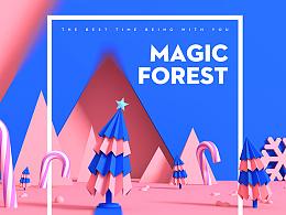 C4D练习--魔法森林