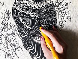纯手工木板画 鸟类