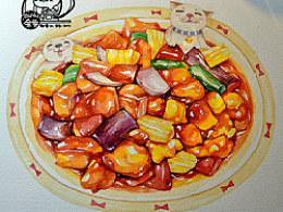 金鱼手绘美食——酸酸甜甜菠萝咕噜肉