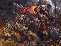 油画作品《猎虎》