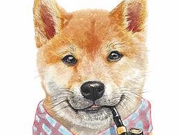 水彩狗狗 ……^_^
