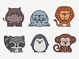 ZOO 一组插画风可爱动物