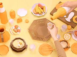 手工纸模动画-生活食品
