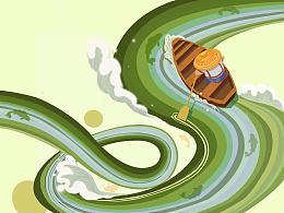 绿色水乡——插画
