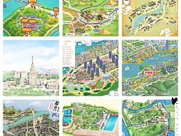 手绘地图大合集 景区城市各种风格定制设计