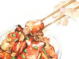 【水彩】美食—猪蹄小排骨