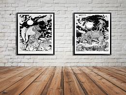 两幅黑白画,业余时间画了两个月 .