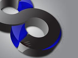 四月设计第七弹 3d glossy logo design bend 数字特效ai混合教程图片
