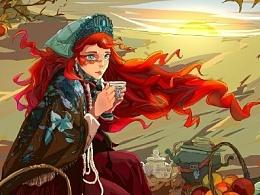 喝茶的女孩
