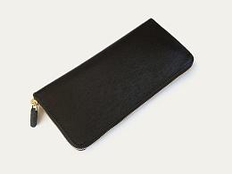 KOUTEN纯手工设计/意大利黑色拉丝牛皮金齿拉链长钱包/手包