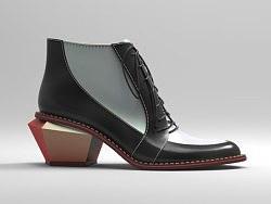 耳式低跟系带靴渲染