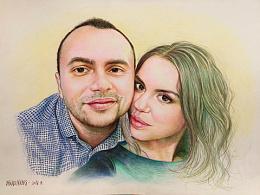 我的彩铅画给乌克兰情侣Tetiana画的肖像