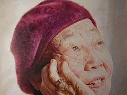 写实彩铅作品《奶奶》