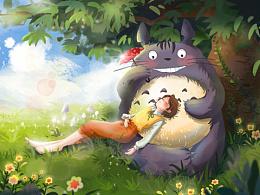 女孩儿和龙猫