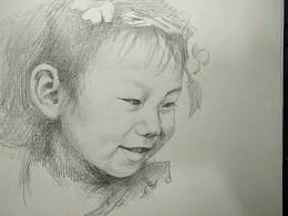 女儿三岁了,画个素描庆祝一下。十多年没动笔,希望大家抱以鼓励的心态来看。