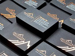 Incapital copper foil black business card