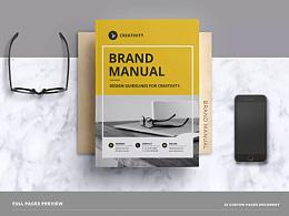 21套VI手册VI品牌产品画册企业视觉识别系统图册排版id素材模板源文件