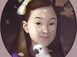 给一个韩国少女的画
