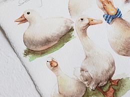 水彩 小黄鸭