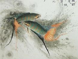 李旭东国画斗鱼系列之《坚牢铁嘴斗双鱼》