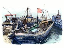 ZD软头水彩笔画-秦皇岛老渔船