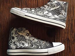 手繪鞋-墨鯉