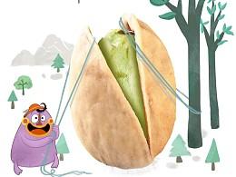 坚果 包装 插画 卡通  小怪兽