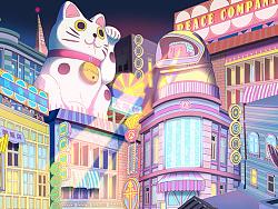 城市之夜,城市之光--隐身少女Alice 幻想城市夜晚插画