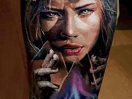 欧美写实纹身和黑灰素描风格纹身赏析定制.人物写实纹