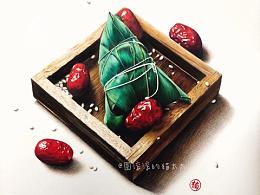 彩铅手绘【端午节-粽子红枣】