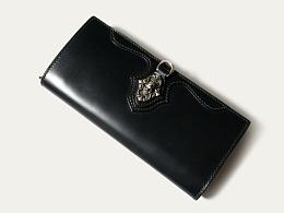 KOUTEN原创设计/奢华马臀皮纯银骷髅扣大容量长钱包