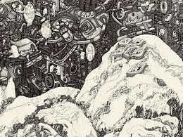 雪霁夜行图 130x160cm 布面 墨  有展览信息~李晴