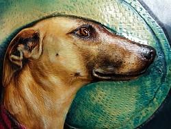 孟璐璐手工皮雕工作室-惠比特犬肖像皮雕