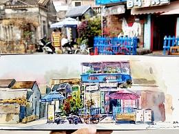 城市速写-珠海-唐家湾-水彩写生