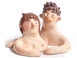 手拙炉子-石塑粘土的两个假人